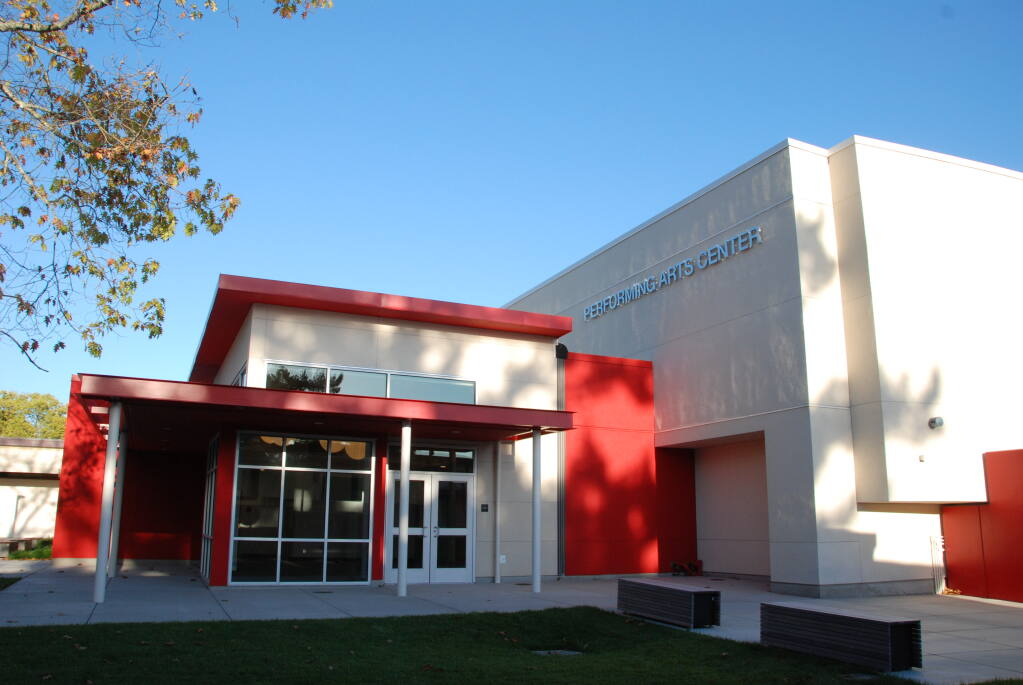 The entrance to the new El Molino High Schools performing arts center, seen here on Oct. 23, 2020, in Forestville welcomes audiences for school drama, band and dance performances. (Courtesy of Quattrocchi Kwok Architects)