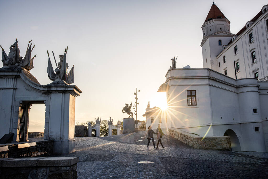 Pedestrians in Bratislava, Slovakia, April 23, 2021. Political turmoil in Slovakia is an example of how Russia's vaccine diplomacy, which has divided politicians across Europe, can have negative side effects for a recipient country. (Akos Stiller/The New York Times)