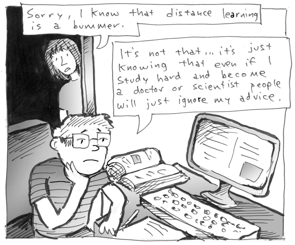 Editorial Cartoon: Distance learning