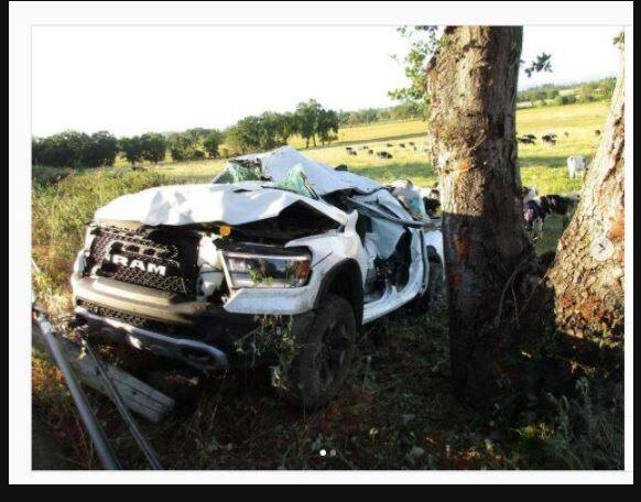 Ulises Valdez Jr.'s pick-up after colliding with a tree on May 12, 2021. (California Highway Patrol)