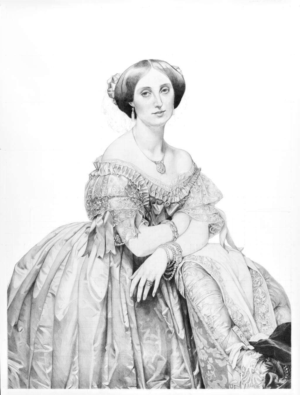 Santa Rosa artist Kristen Throop created her own pencil drawing of Jean-Auguste-Dominique Ingres' famous 1853 portrait of the Princesse de Broglie, which hangs at the Metropolitan Museum of Art in New York City. (Kristen Throop)