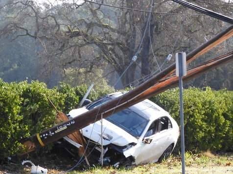 A suspected DUI driver crashed into a utility pole in Santa Rosa on Saturday, Jan. 18, 2020, forcing hundreds of area residents to lose power for hours. (BOB SOUZA)