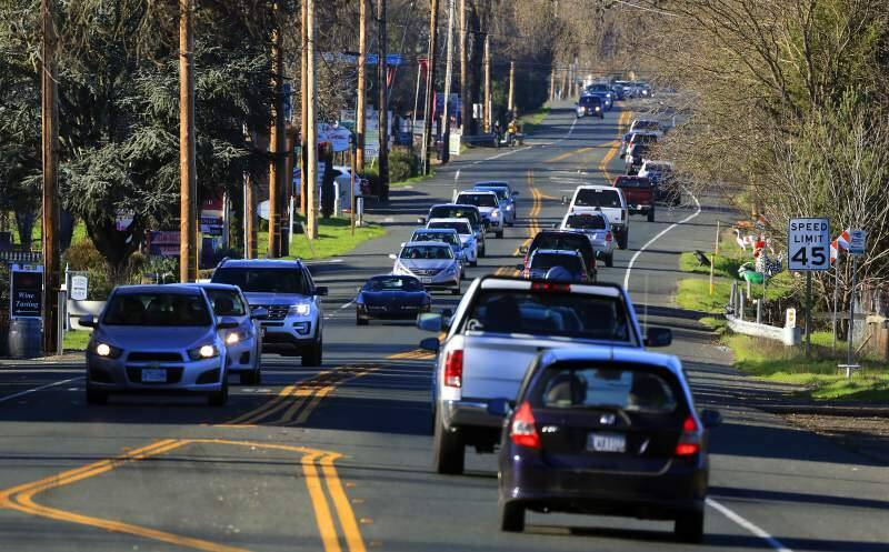 Sunday afternoon traffic on Hightway 12 in Kenwood, the Sonoma Valley. (The Press Democrat)