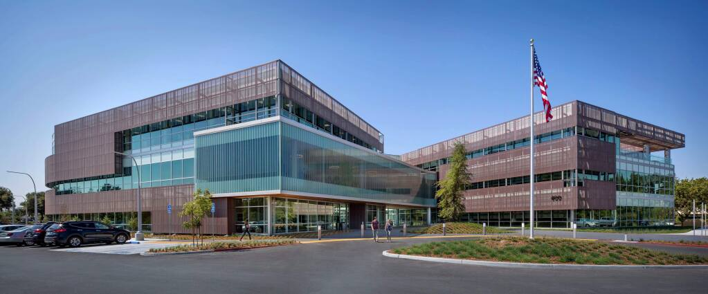 American AgCredit's main entrance invites clients and guests to experience a 120,000-square-foot building with a courtyard and special sun shading panel and many Green features satisfying requirements for Gold-level LEED certification.