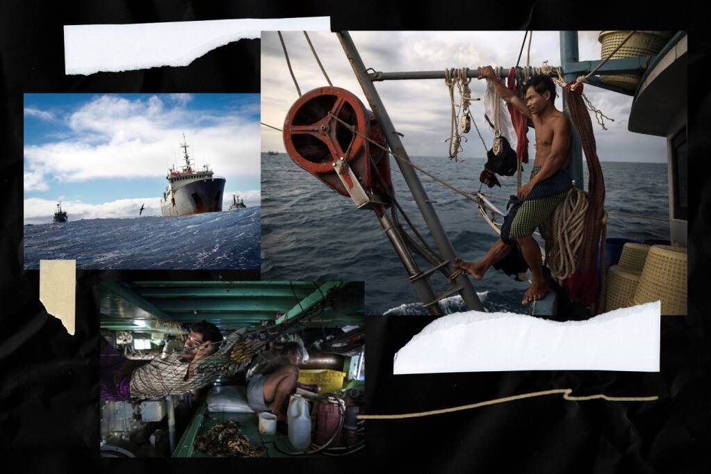 Stills from the Outlaw Ocean Project (clockwise from top): Storming the Thunder; Cambodian worker on a Thai fishing ship in the South China Sea; cramped sleeping quarters below deck on a Thai fishing ship. (The Ocean Outlaw Project; photo illustration by Nicole Vas / Los Angeles Times)