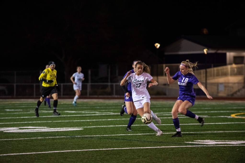 The crosstown rivalry between Casa Grande and Petaluma high schools was on display once again Wednesday night, when the girls soccer teams from each school faced off with the VVAL title likely settled by the outcome. (Andrew Gotshall / FOR THE PETALUMA ARGUS-COURIER)