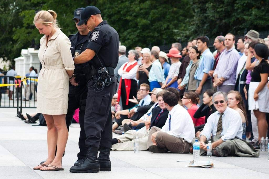 May Boeve grew up in Sonoma Valley and she now heads up 350.org. She is pictured here during her arrest outside the White House in protest of the Keystone XL pipeline, File photo courtesy of 350.org.