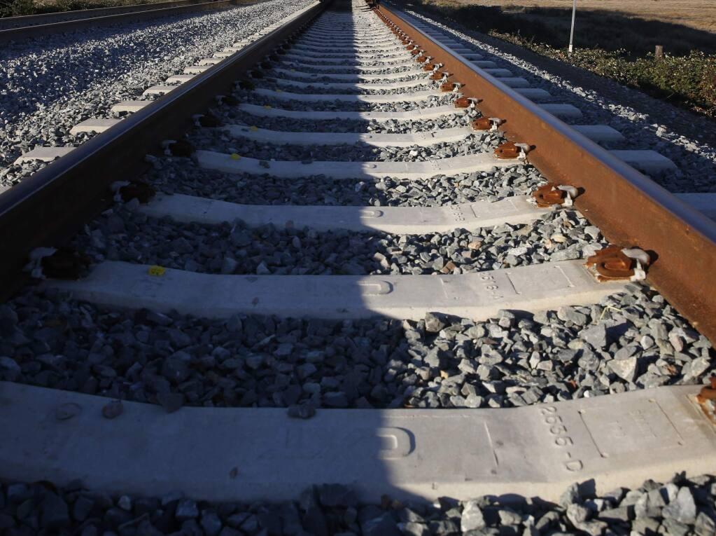 SMART rail tracks in Sonoma County. (Beth Schlanker / The Press Democrat)