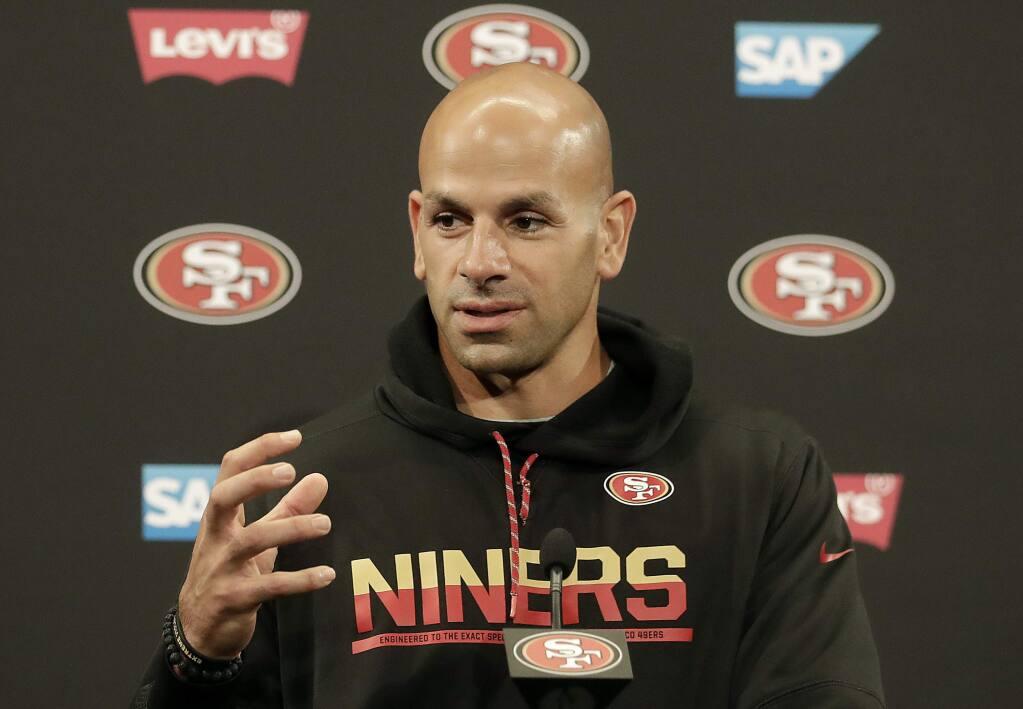 San Francisco 49ers defensive coordinator Robert Saleh speaks to reporters after a practice in Santa Clara, Wednesday, May 30, 2018. (AP Photo/Jeff Chiu)