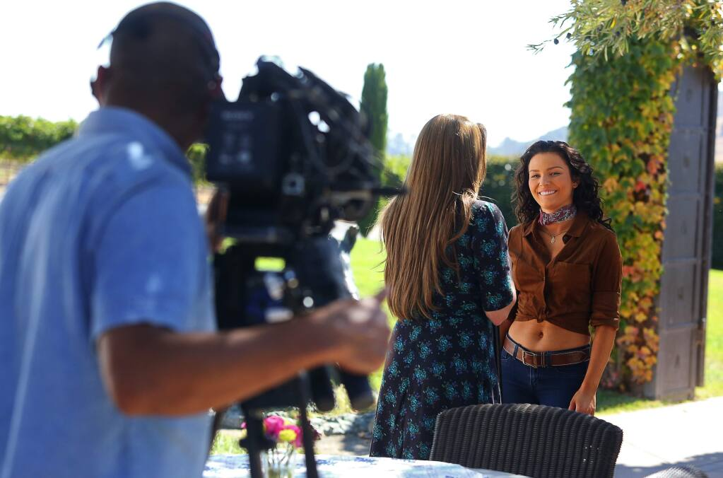 Actors Irina Baeva, right, and Cynthia Klitbo film a scene for the telenovela Vino El Amor, at Viansa Sonoma winery, near Sonoma, on Thursday, September 29, 2016. The show is set to air on October 24, on Univision.(Christopher Chung/ The Press Democrat)