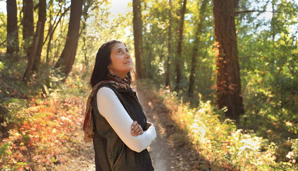 Maya Khosla is the current Sonoma County poet laurete, is shown on Friday, Aug. 31, 2018. Also a filmmaker, Khosla is documenting the rapid regrowth of Trione-Annadel State Park in Santa Rosa, which was burned during last year's October wildfires. (KENT PORTER/ PD)