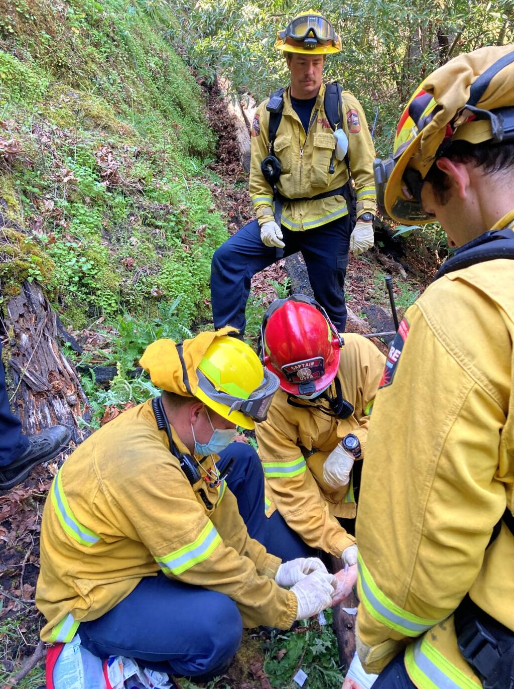 A crew with Henry 1 assisted Ukiah Valley Fire Authority and Cal Fire in rescuing a woman from the Montgomery Woods State Natural Reserve. (Sonoma County Sheriff's Office / Facebook)