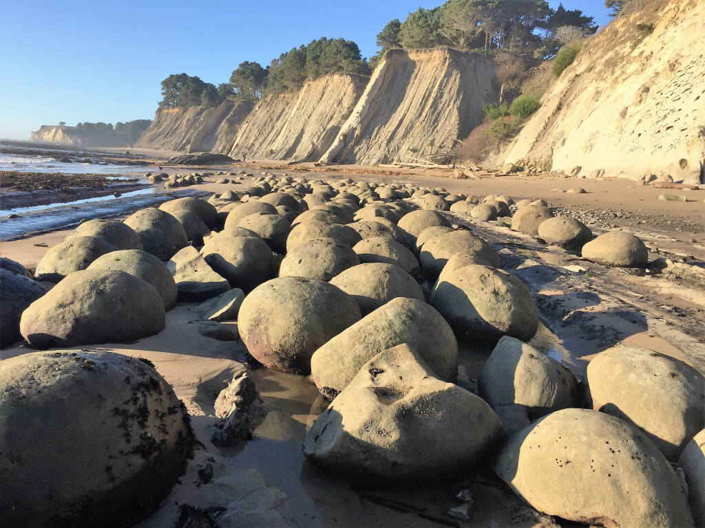 About 100 spherical ricks make Bowling Ball Beach in Mendocino County unique. (Thomas E. Cochrane)