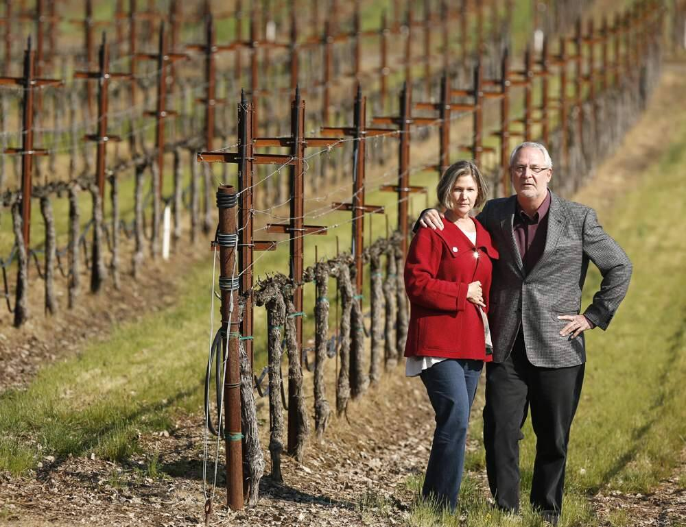 Owners of Ramey Wine Cellars, David and Carla Ramey stand at their newly aquired vineyards at Westside Farms in Healdsburg on Friday, March 22, 2013. (Conner Jay/The Press Democrat)