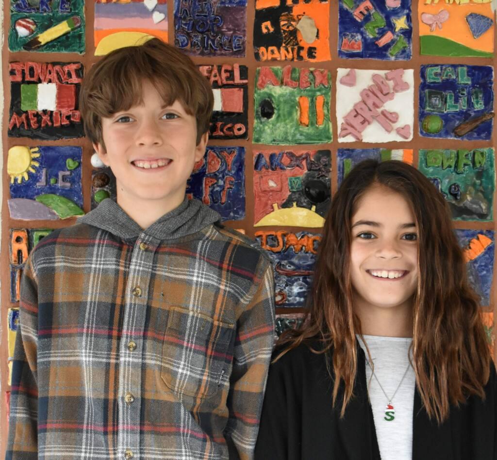 Fifht graders Joaquin Garrison and Sasha Jamison.