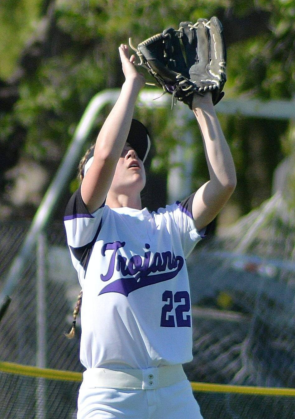 SUMNER FOWLER/FOR THE ARGUS-COURIERThe end of the line came for senior Kailegh Pate and the Petaluma T-Girls in a last-inning loss to Alhanmbra.