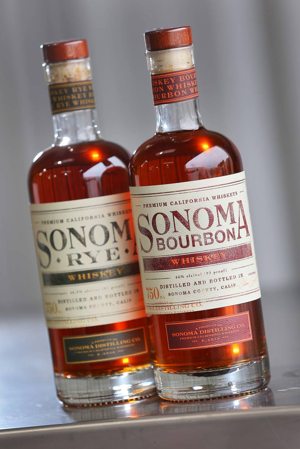 Sonoma Distilling Company whiskey bottles.(Christopher Chung/ The Press Democrat)