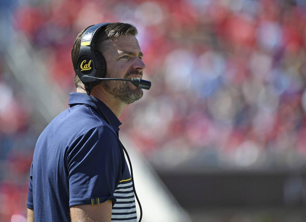 Cal head coach Justin Wilcox watches on during the first half against Mississippi in Oxford, Miss., Saturday, Sept. 21, 2019. (AP Photo/Thomas Graning)