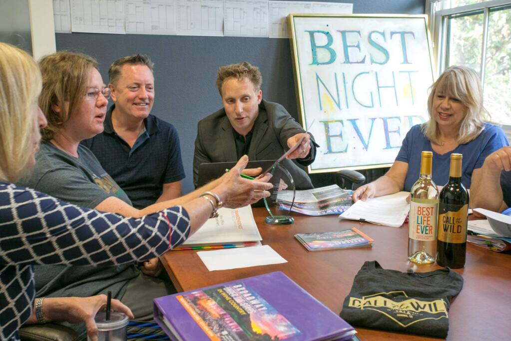 Where the magic happens: At Transcendence's Broadway Under the Stars headquarters on, as it happens, Broadway in Sonoma. From left, Susan Hoeffel, Leesa Munger, Rob Barnum, Brad Surosky and Barbara Cannon. (Photo by Julie Vader/Special to the Index-Tribune)