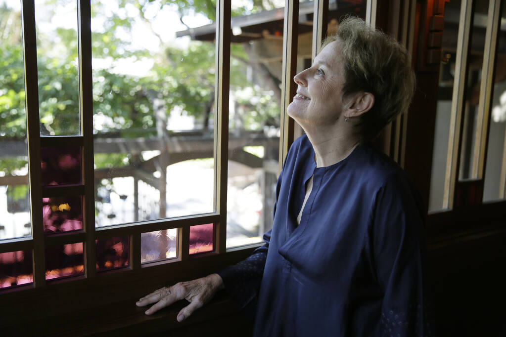 In this Aug. 25, 2017, photo, Alice Waters, founder of Chez Panisse restaurant, appears during an interview at the restaurant in Berkeley, Calif.  (AP Photo/Eric Risberg)