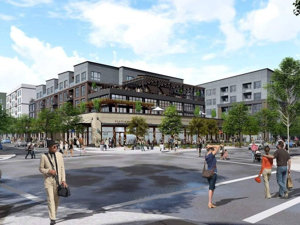 A 260-unit mixed-use residential and retail complex proposed for west Berkeley, in a conceptual visualization. Developers who have been trying, and failing, for five years to get approval to build hundreds of housing units on a parking lot here went over city officials' heads on Thursday, March 8, 2018, making them the first to make use of a controversial new California law aimed at fast-track municipal approvals of residential developments. (Blake Griggs Properties)