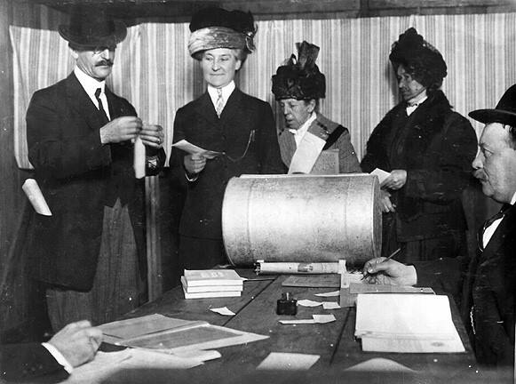 Three San Francisco women casting their ballots in the first election California women are able to vote in April, 1912 (California State Library Collection)