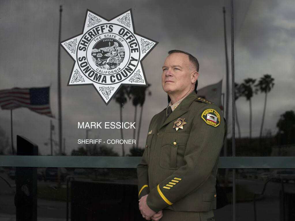 Sonoma County Sheriff Mark Essick photographed at the sheriff's office building in Santa Rosa in 2019. (Erik Castro/for The Press Democrat)