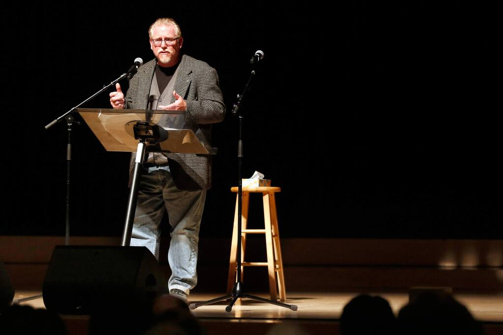 Dave Pokorny talks about his experiences during last October's Tubbs Fire during Thicker Than Smoke, an evening of community storytelling at Sonoma State University's Weill Hall in Rohnert Park, California, on Friday, August 3, 2018. (Alvin Jornada / The Press Democrat)