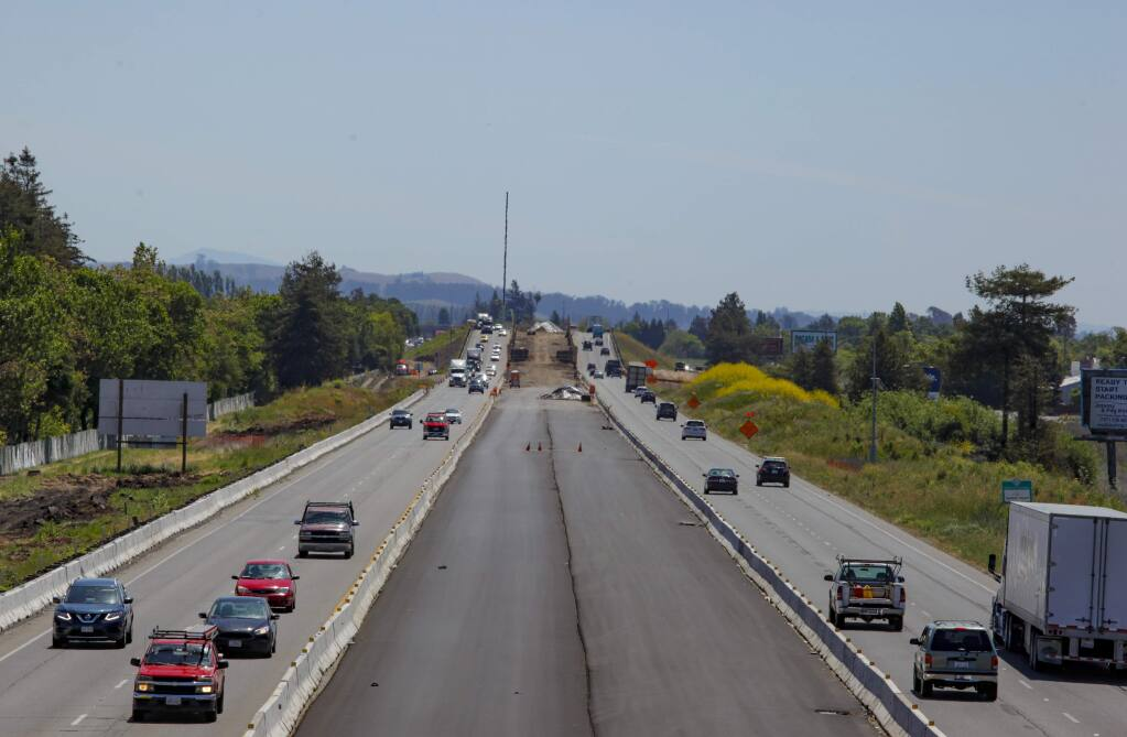 Petaluma, CA, USA. Tuesday, May 05, 2020._ Construction continues on the overpass at Highway 101 and Rainier.(CRISSY PASCUAL/ARGUS-COURIER STAFF)