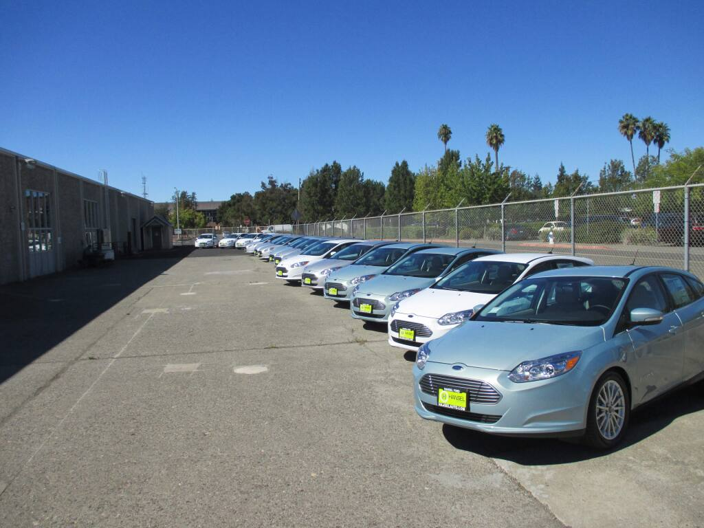 Sonoma County recently purchased Ford Focus all-electric vehicles using a regional transportation grant. The county hopes to use the cars to reduce its greenhouse gas emissions. (County of Sonoma photo)