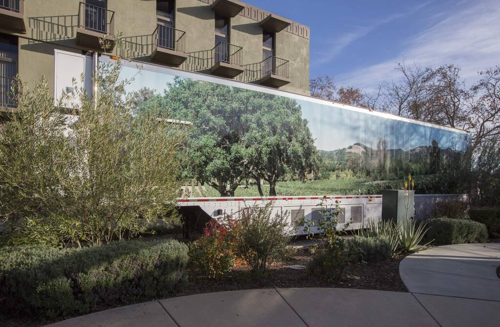 The MRI trailer outside the main entrance to Sonoma Valley Hospital. (Photo by Robbi Pengelly/Index-Tribune)