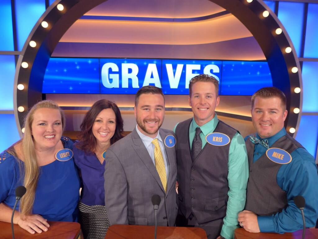 The Graves family of Sonoma County on 'Family Feud': From left, Lesley Soekland, Leasa Graves, D.J. Graves, Kris Graves, Mike Graves.