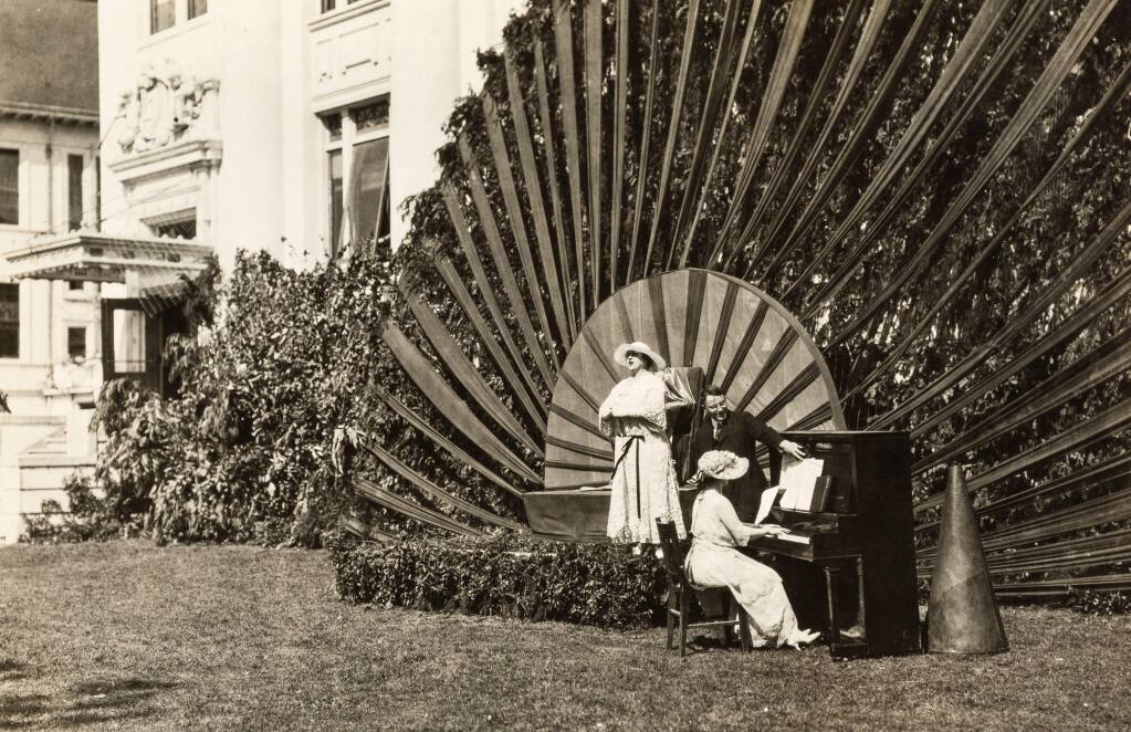 """The Sun Worshipers Pageant held at Santa Rosa High School and Junior College in the 1920s. The Burbank day festivity was based on a saying of Luther Burbank's that the """"sun is the source of all life."""" (SONOMA COUNTY LIBRARY)"""