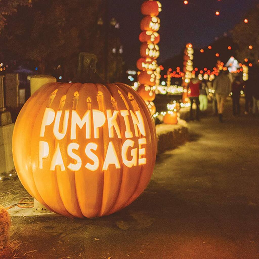 The traveling event Pumpkin Nights, running Thursday, Oct. 10, through Sunday, Nov. 3, features more than 3,000 carved synthetic or real pumpkins at the Sonoma County Fairgrounds in Santa Rosa. (Lauren Spinelli)
