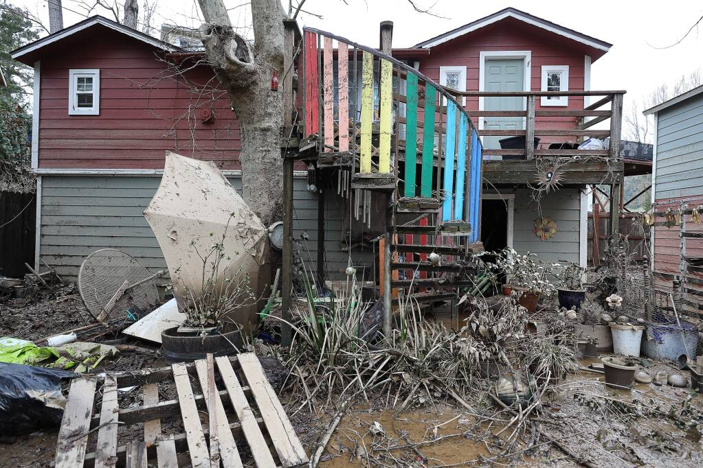 Flood damage seen in Guerneville on Friday, March 1, 2019. (Christopher Chung/ The Press Democrat)