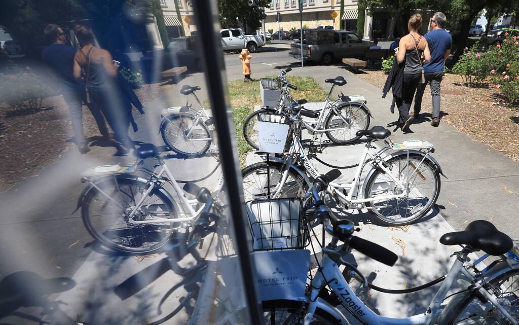 A bike-share station near the Healdsburg Plaza, Tuesday, June 18, 2019. (KENT PORTER/ PD)