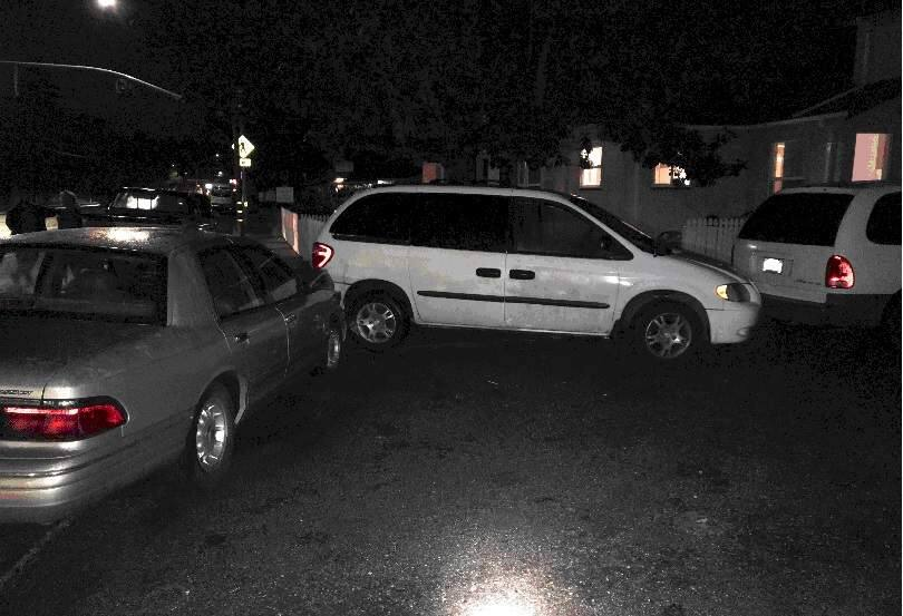 A Santa Rosa family was getting out of a van in their driveway on Montgomery Drive late Saturday, March 2, 2019, when an out-of-control sedan crashed into them, police said. (SANTA ROSA POLICE DEPARTMENT)