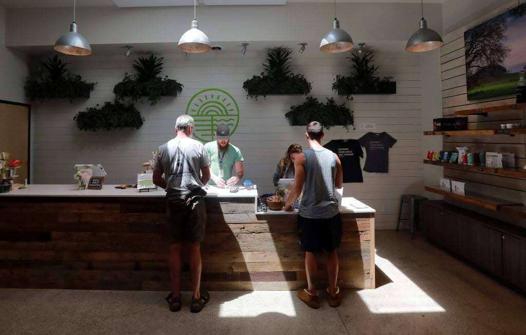 Customers weigh their options at the Solful Cannabis Dispensary in Sebastopol, a town which supports two dispensaries. (John Burgess/Press Democrat)
