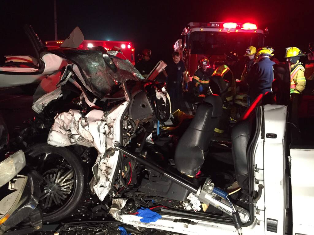 Two suspected drunken drivers were seriously injured in a head-on collision on Valley Ford Road on Saturday, Aug. 5, 2017. (COURTESY OF VALLEY FORD FIRE CHIEF RON CASELLI)