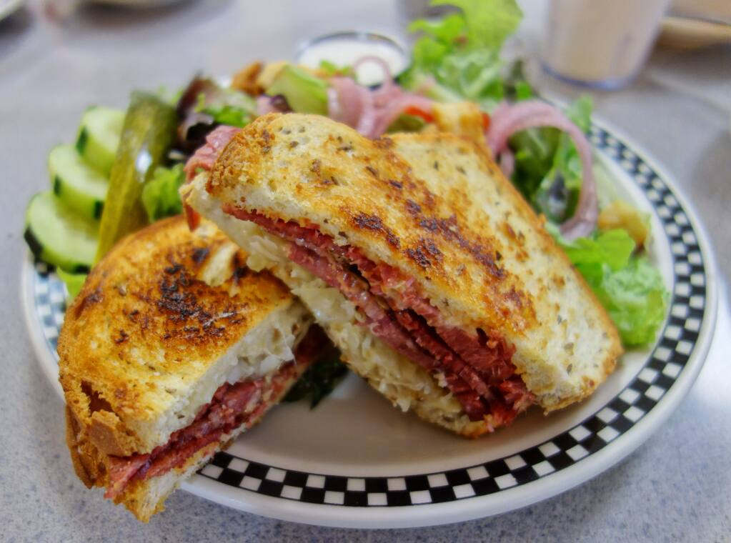 The Rueben at Hallie's Diner is perfectly crisp. (HOUSTON PORTER/FOR THE ARGUS-COURIER)