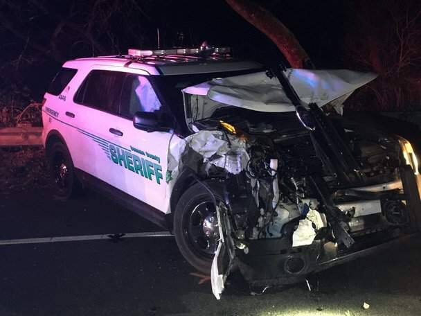 Two Sonoma County sheriff's deputies were injured in a crash on Highway 12, Wednesday, Jan. 1, 2020. (SONOMA COUNTY SHERIFF'S OFFICE/ TWITTER)