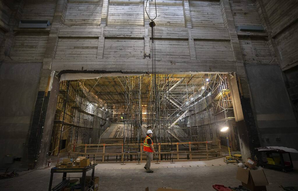 The view from the stage out to the audience seating is taking shape in the $28 million renovation of the Luther Burbank Auditorium on the SRJC campus in Santa Rosa. (photo by John Burgess/The Press Democrat)