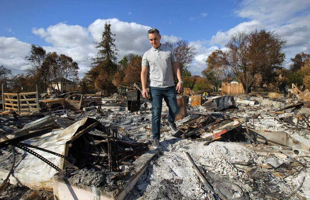 Jeff Okrepkie is organizing his Espresso Ct. neighbors in Coffey Park during the rebuilding process after the devastating Tubbs Fire. (photo by John Burgess/The Press Democrat)