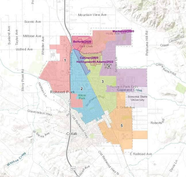 The Rohnert Park City Council's initial map choice in its switch to district-based elections now may not move forward after residents criticized the option. The selected map would have protected the three incumbents who are up for reelection from head-to-head races in November 2020. (Rohnert Park)