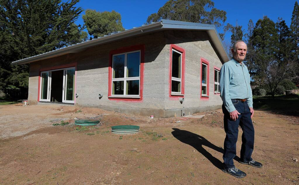 Contractor Steve Sheldon is building a Sebastopol home made from Hempcrete, a fire and mold resistant mixture of the hemp hurds and lime. (photo by John Burgess/The Press Democrat)