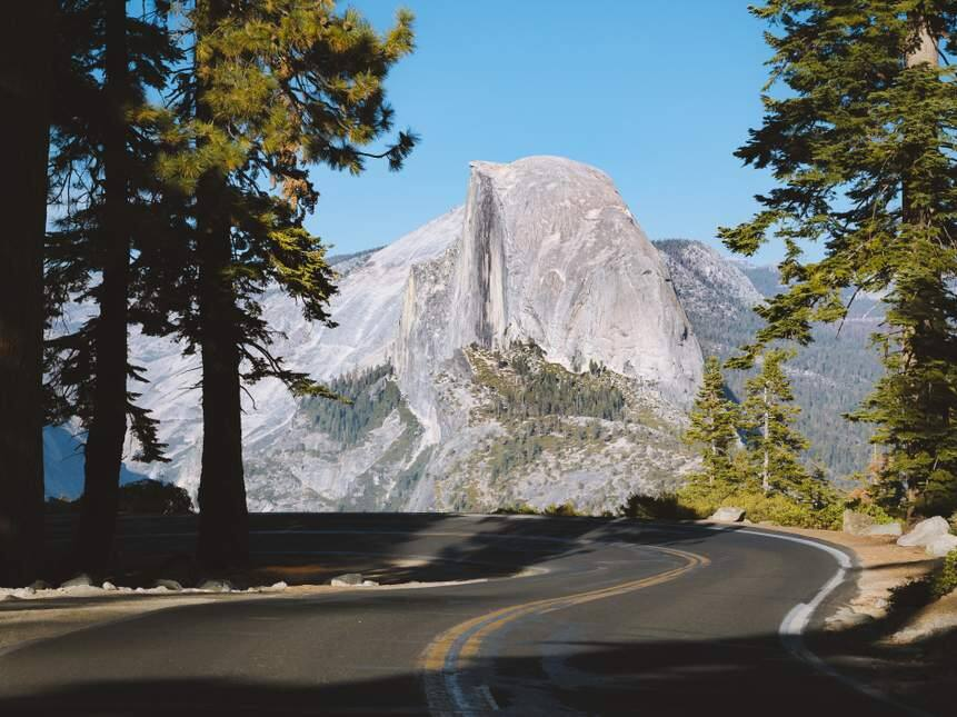View of Glacier Point Road with Half Dome in Yosemite National Park, California. (SHUTTERSTOCK)