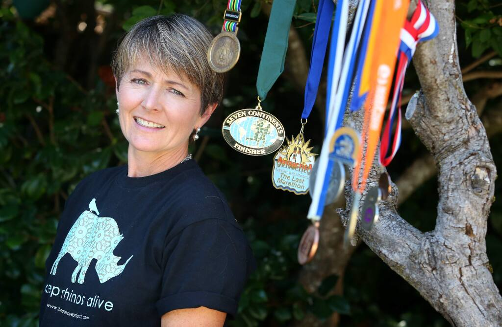 Mary Ann Weber recently ran a marathon in Africa, completing her quest to run a marathon on all seven continents. Weber began in 2004 with a marathon in Greece.(Christopher Chung/ The Press Democrat)