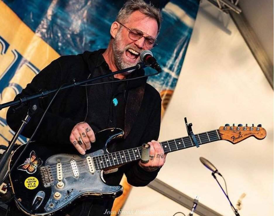 Anders Osborne shown with one of the three guitars stolen from a rental truck outside a Best Western in Corte Madera. (ANDERS OSBORNE/ FACEBOOK)