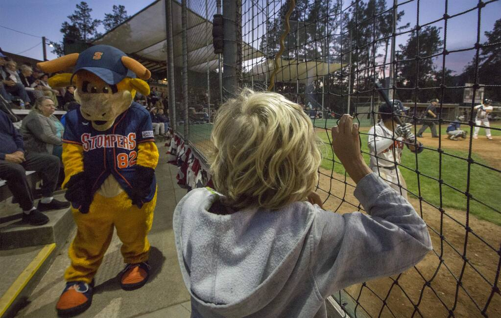 On a perfect Sonoma evening, the Sonoma Stompers, with a little help from their mascot Rawhide, opened their season, much to the delight of spectators young and old, who crowded the stands and cheered for their local team. Opening night for Stompers baseball was at Palooza Park on Arnold Field Saturday, June 1. (Photo by Robbi Pengelly/Index-Tribune)