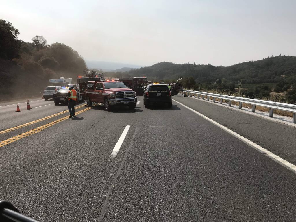 Two drivers died Wednesday morning in a Highway 101 crash in Ukiah, the CHP said. (California Highway Patrol)